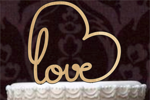 Wedding - Love cake topper, Custom Wedding Cake Topper, Personalized Monogram Cake Topper, Mr and Mrs, Cake Decor, Bride and Groom, rustic cake topper