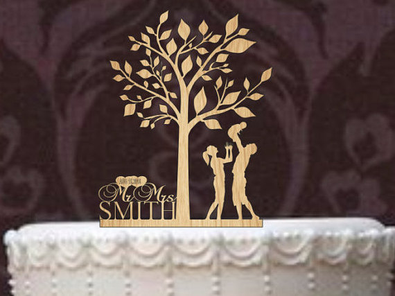Rustic Wedding Cake Topper Personalized Funny Silhouette Custom Tree Of Life