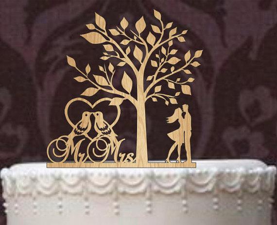 Hochzeit - Rustic Wedding Cake Topper, Personalized Cake Topper, Funny wedding cake topper, silhouette cake topper, custom cake topper, Tree of life