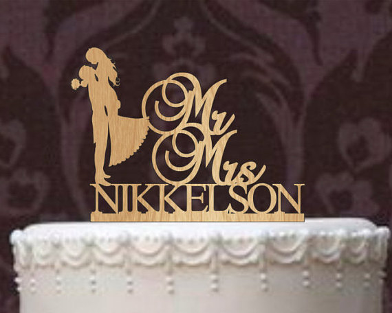 Rustic Wedding Cake Topper Personalized Cake Topper Funny Wedding