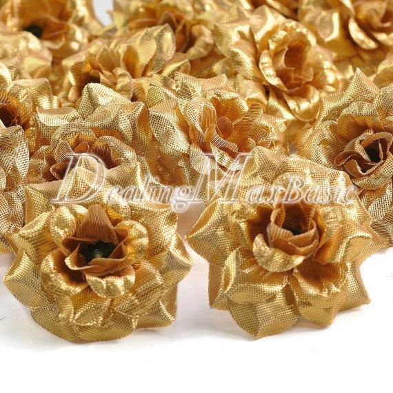 زفاف - 50pcs Gold 50mm Artificial Silk Rose Flower Heads For Clips Bridal Wedding Party Home Decor HS0001-15