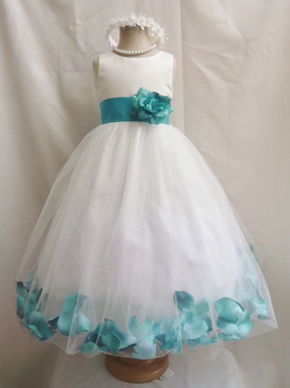 Hochzeit - Flower Girl Dresses - IVORY with Teal Rose Petal Dress (FD0PT) - Wedding Easter Bridesmaid - For Baby Children Toddler Teen Girls