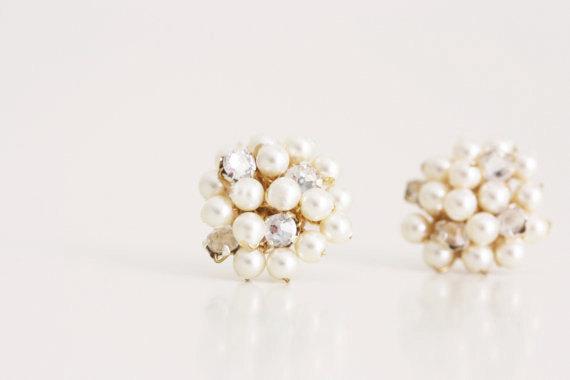 Hochzeit - Wedding Jewelry Pearl and Rhinestone Cluster Stud Bridesmaid Earrings