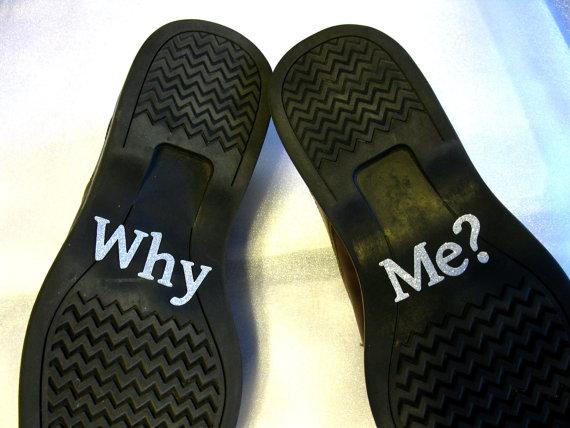 زفاف - Groom's Wedding Shoe Stickers - Why Me - Silver Glittered Appliques