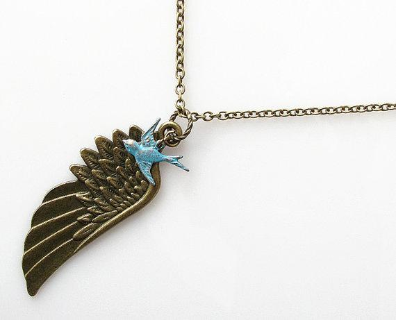 زفاف - rustic wedding jewelry, angel wing necklace, boho necklace, extra long necklace, memorial jewelry, sympathy gift, rustic blue bird