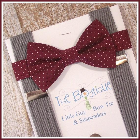 Свадьба - Burgundy Bow Tie and suspenders, Grey Suspenders, Toddler Suspenders, Ring Bearer Gift, Wine, Maroon, Burgundy Polka Dots