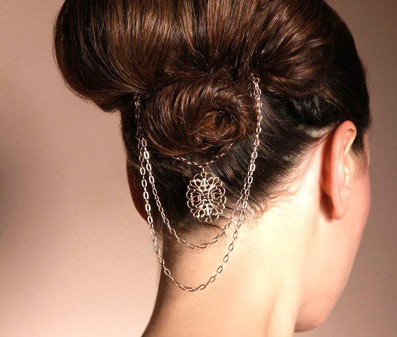 Mariage - Bridal hair pins - Victorian gold hair pin jewelry - gold hair accessories - bridal hair jewelry