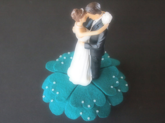 Wedding - Wedding Cake Topper Bride and Groom Teal Green