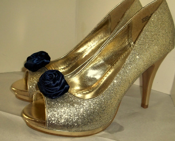 Hochzeit - Wedding Shoe Clips, Rose Shoe Clips, Navy Blue Roses, Bridal Wedding, Bridal Shoe Clips for Wedding Shoes, Bridal Shoes, Special Occassion