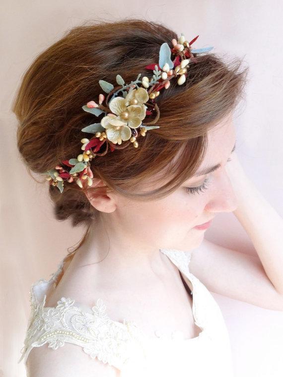 Wedding Headband, Burgundy And Gold Bridal Hair Piece, Bridal Hair ...