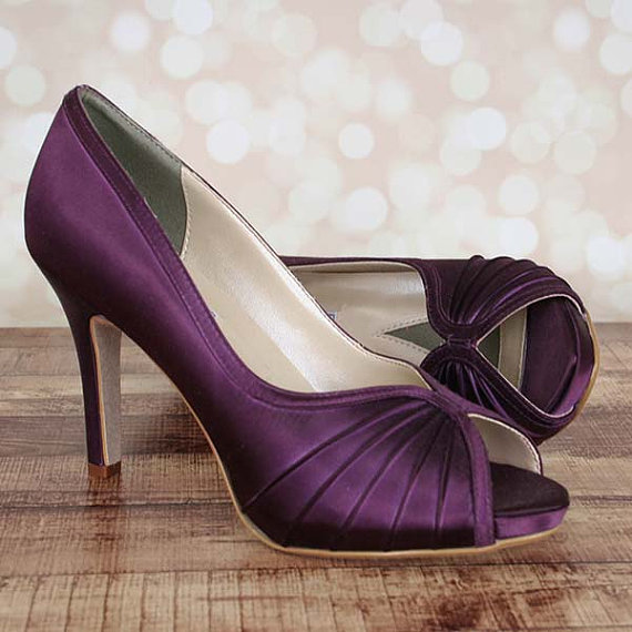 Custom Wedding Shoes -- Plum Platform Peep Toe Wedding Shoes ... c36ed25d03
