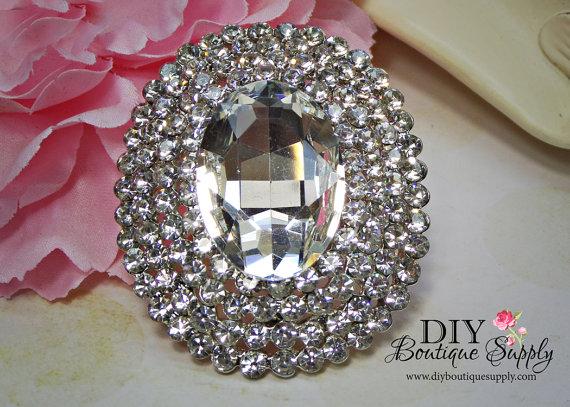Mariage - Large Rhinestone Brooch Bridal Wedding Brooch Embellishment for Brooch Bouquet Crystal Brooch Cake Brooch Sash Pin Back 55mm 905250