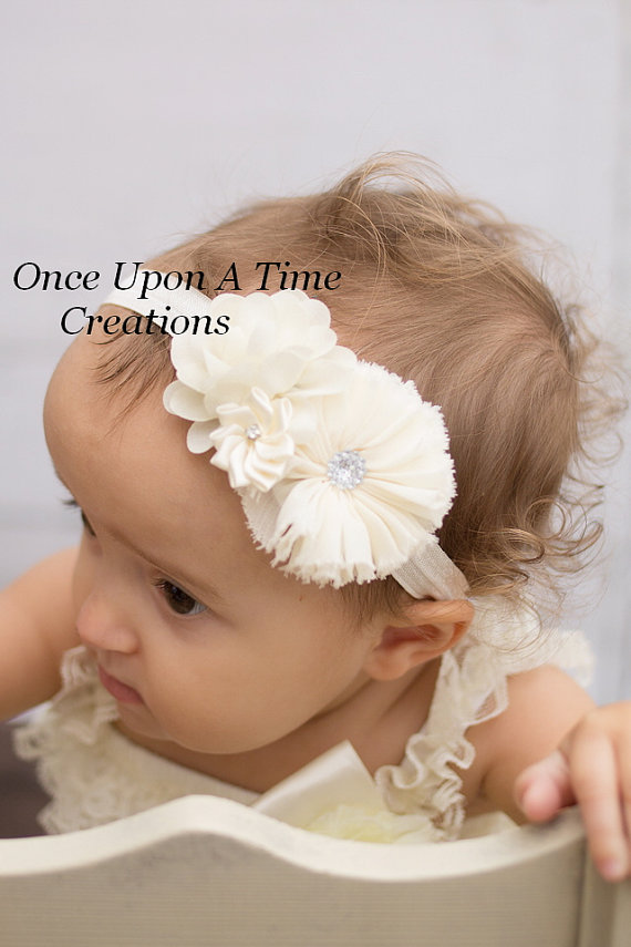 Ivory Christmas Headband - Baby Girl Holiday Dressy Hair Bow - Little Girl s  Satin   Pearl Satin Flower HairBow - Baby Girls Baptism c99eed18e57