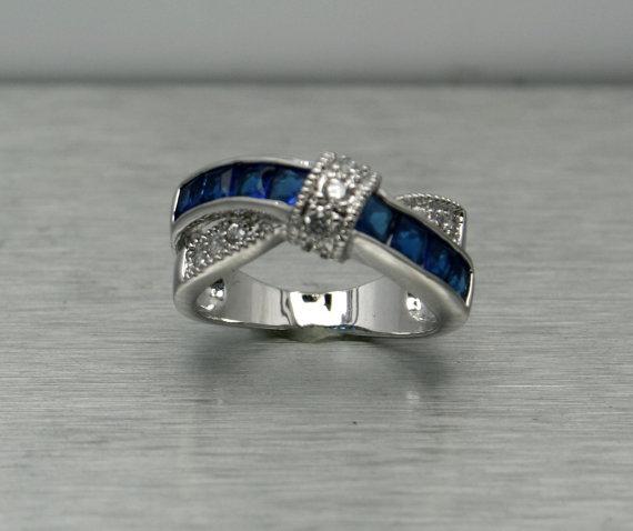 Mariage - CZ Ring, Montana Blue Sapphire Ring, Fashion Ring, Cubic Zirconia Ring, Gemstone Ring. Engagement Ring, September Birthstonem, Sz 5, 6, 7, 9