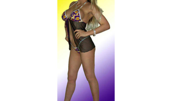 زفاف - NBA Los Angeles Lakers SEXY Lingerie Babydoll Teddy Set with Matching G-String Thong Panty
