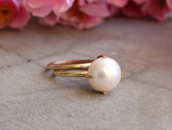 Mariage - 18k Gold ring - Pearl ring - Wedding ring - Engagement ring - Stack ring - Anniversary ring - Gift for her