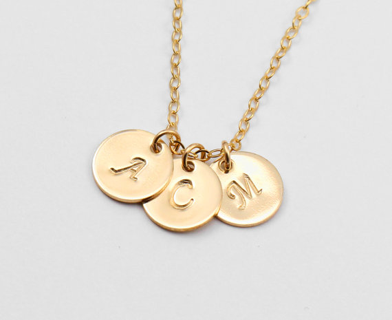 Wedding - 3 Initial Necklace, Personalized Jewelry, 14k Gold or Sterling Silver Personalized Monogram Necklace, Monogrammed Gift, Celebrity Inspired