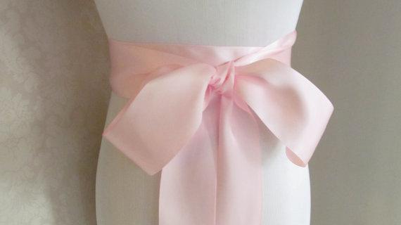 Свадьба - Light Pink Satin Ribbon Sash / Ribbon Sash / Satin Bridal Sash /  bridesmaid Sash /