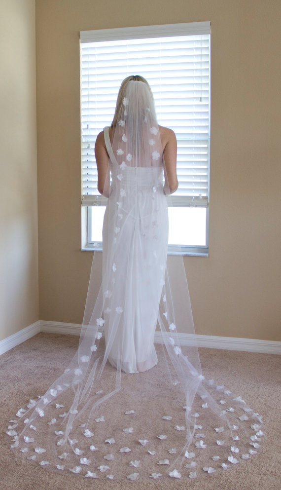 Cathedral Length Wedding Veil 110 Inch With Silk Flowers Crystal Centers White Or Ivory Bridal Style 1032 Elizabeth