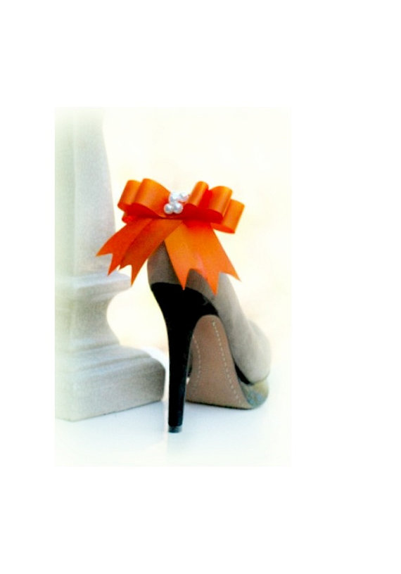 Mariage - Bow Shoe Clips Orange. More: Ivory White Aqua Blue Black Green Purple Red Yellow. Spring Night Out Couture, Statement Pearls - Satin Ribbon
