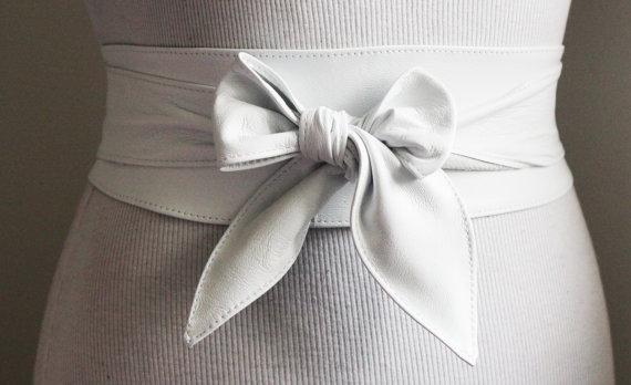 Свадьба - White soft Leather Obi Belt tulip tie