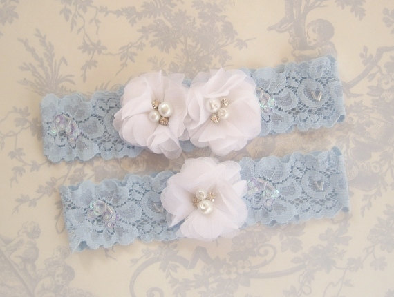 Свадьба - Wedding Garter , Blue Garter Set with Toss Garter in Something Blue and White , Bridal Garter with Chiffon Blossoms pearls and rhinestones