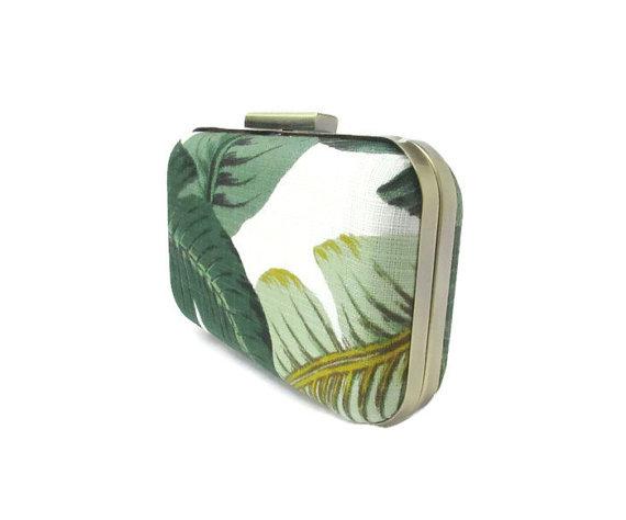 Mariage - palm leaf clutch, palm print, tropical print, beverly hills hotel, destination wedding, tropical wedding, martinique print, palm leaf trend