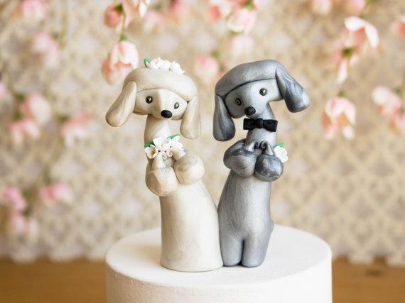 Wedding - Poodle Wedding Cake Topper by Bonjour Poupette
