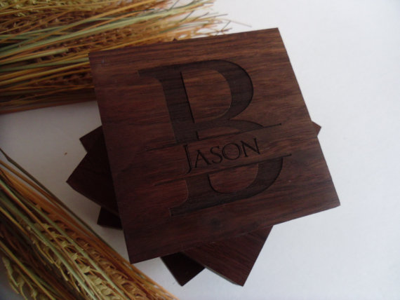 Свадьба - Custom Engraved Coasters Set of Four for Groomsmen, Gifts, Home