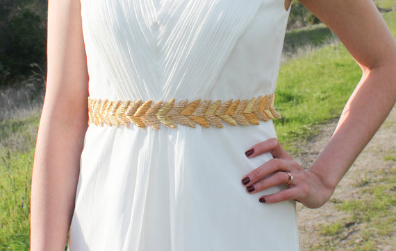 Mariage - HANABI in Gold - Metallic Bullion Embroidered Bridal Belt, Wedding Sash