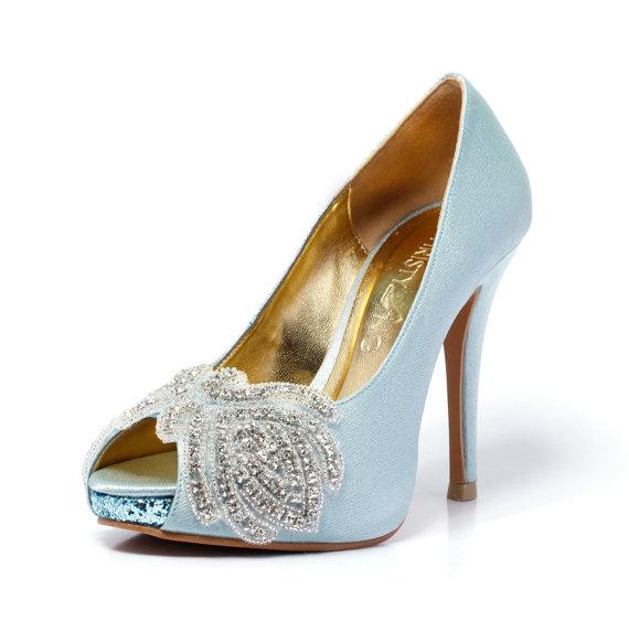 Mariage - Carmen,Blue Peep Toe Wedding Heel with Swarovski Elements, Blue Bridal Heel, Something Blue Satin Wedding Heel,Blue Wedding Shoes.