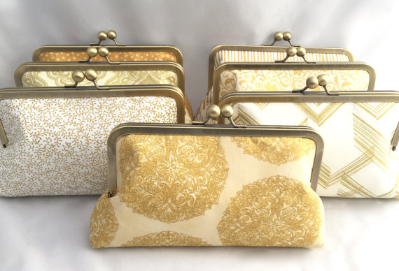 Mariage - Set of (7) Gold Bridesmaids Clutches Custom Design your own Bridesmaids Handbags for your Wedding Party Gift Clutch for Bridal Party Gift,