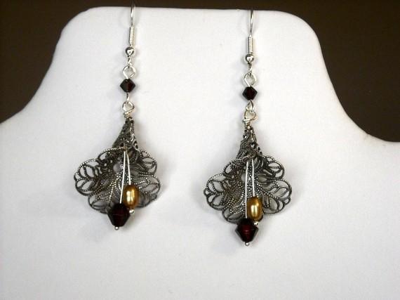 Mariage - Free shipping, All about you Dangle Earrings, Drop Earrings, Hoop, cluster earrings, silver lilly, bridal earrings, wedding jewelry