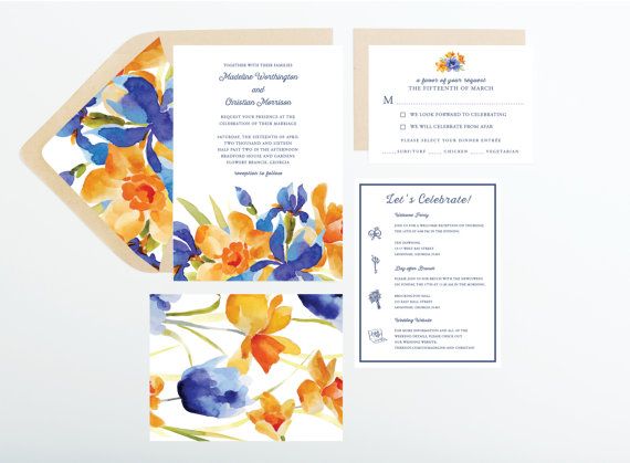 Mariage - Watercolor Orange and Blue Floral Wedding Invitation, Wedding Announcement, Save The Date