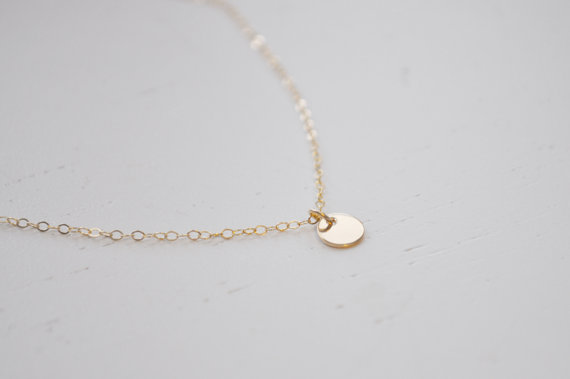 Tiny gold disc necklace gold filled dot small circle round charm tiny gold disc necklace gold filled dot small circle round charm pendant simple sweet everyday or wedding jewelry aloadofball Image collections