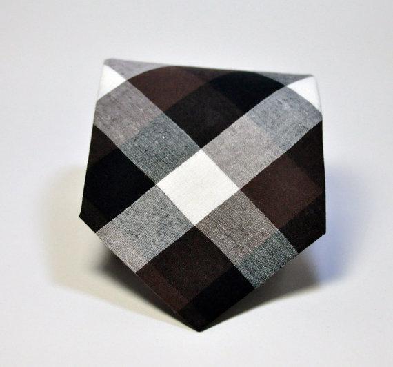 Mariage - Boys Necktie Brown and Black Check Toddler , Baby Tie
