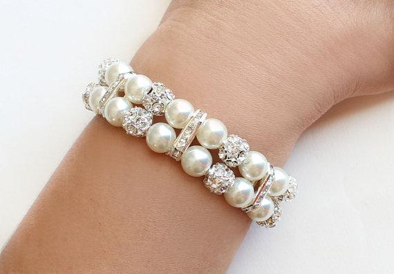 Mariage - 2 Strand Pearl Bracelet 8 mm with rhinestone rondelles bridal jewelry bridesmaid bracelet wedding valentine gift fvory white 2 row bracelet