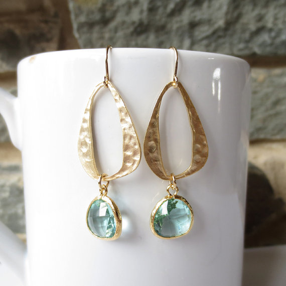 Mariage - Sparkle Dangle Earrings, Drop Earrings, Wedding Jewelry, Bridesmaid, Chandelier, Modern Gold Oval, Turquoise, Blue, Anniversary Gift