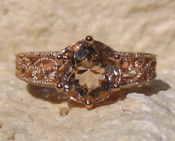 Mariage - Peachy Pink Morganite in Rose Gold Filigree Engagement Ring