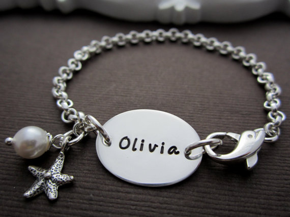 Childrens Personalized Bracelet Flower Girl Gift Flower Girl