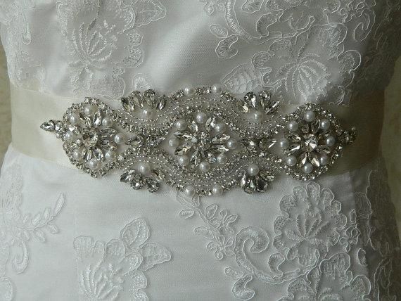 Mariage - Ellisa Pearl And Crystal Bridal Sash,Wedding sash,Crystal and pearl sash,Genuine crystal