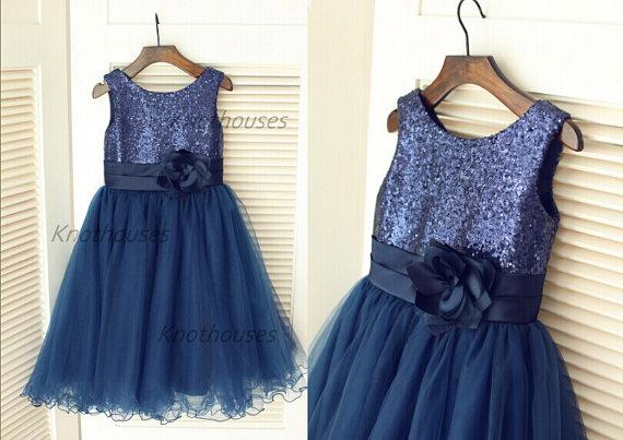80dce54d9 Navy Blue Sequin Tulle Flower Girl Dress Children Toddler Party ...
