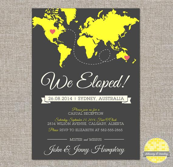 Mariage - elope announcement and reception invitation -  hearts and map - diy printable file by YellowBrickStudio