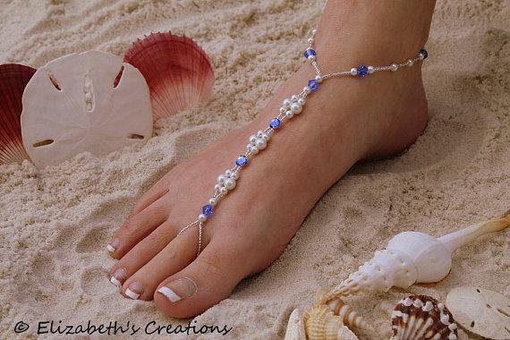 Mariage - Barefoot Sandal - Simply Elegant Swarovski Blue Rhinestones, with Swarovski  Blue Montees White Pearls and Silver Beads III