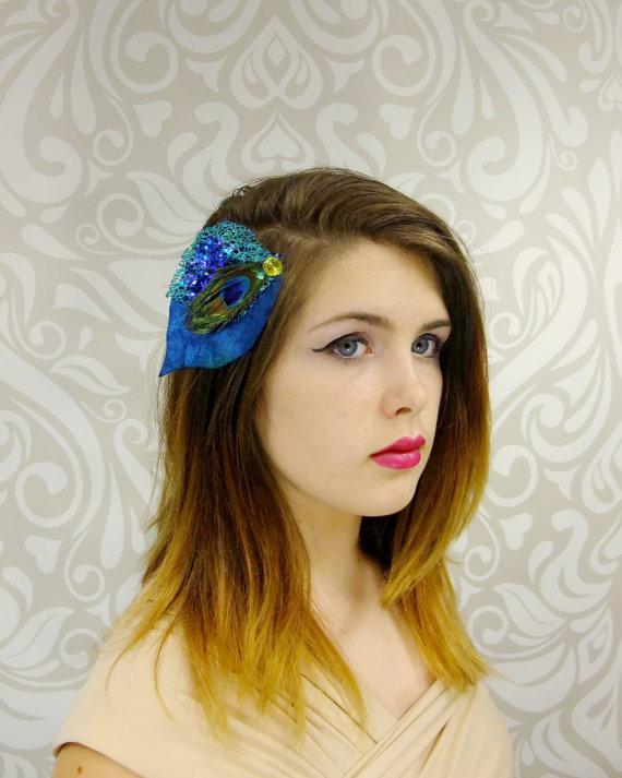 Свадьба - Royal Blue Peacock Hair Clip, Peacock Feather Hair Clip, Bridal Hair Clip, Bridal Hair, Bridal Accessory, Boho Wedding, Boho Hair Clip