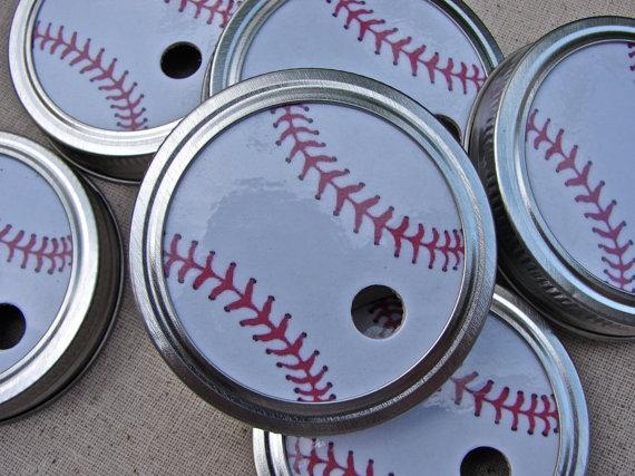 Mariage - Baseballs - Party Mason Jar Lids - 20 Lids Only