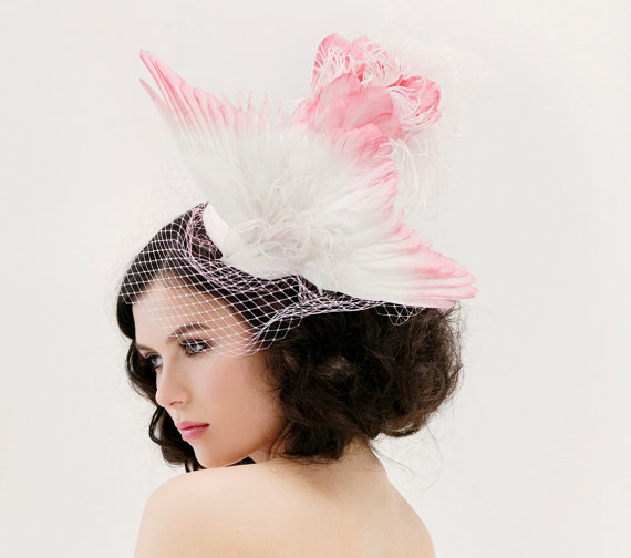 Unique Wedding Veil - Feather Fascinator - Taxidermy Bird Hat - Bridal Hat  - Head Piece - Wing Hat - Pink Bridal Accessory - Birdcage Veil df00b3957dc