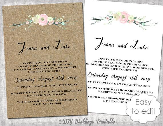 Printable Rustic Wedding Invitation Template Flowers Blush