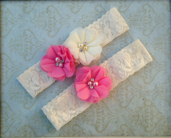 Свадьба - Pink & Ivory (or White) Lace Garter Set - Shabby Wedding Garter - Chiffon Rhinestone Pearl Accents - Plus Size Also - Customize Colors