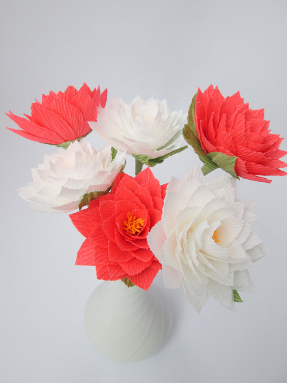 Paper Dahlia Paper Flowers Centerpieces Wedding Bouquets Table